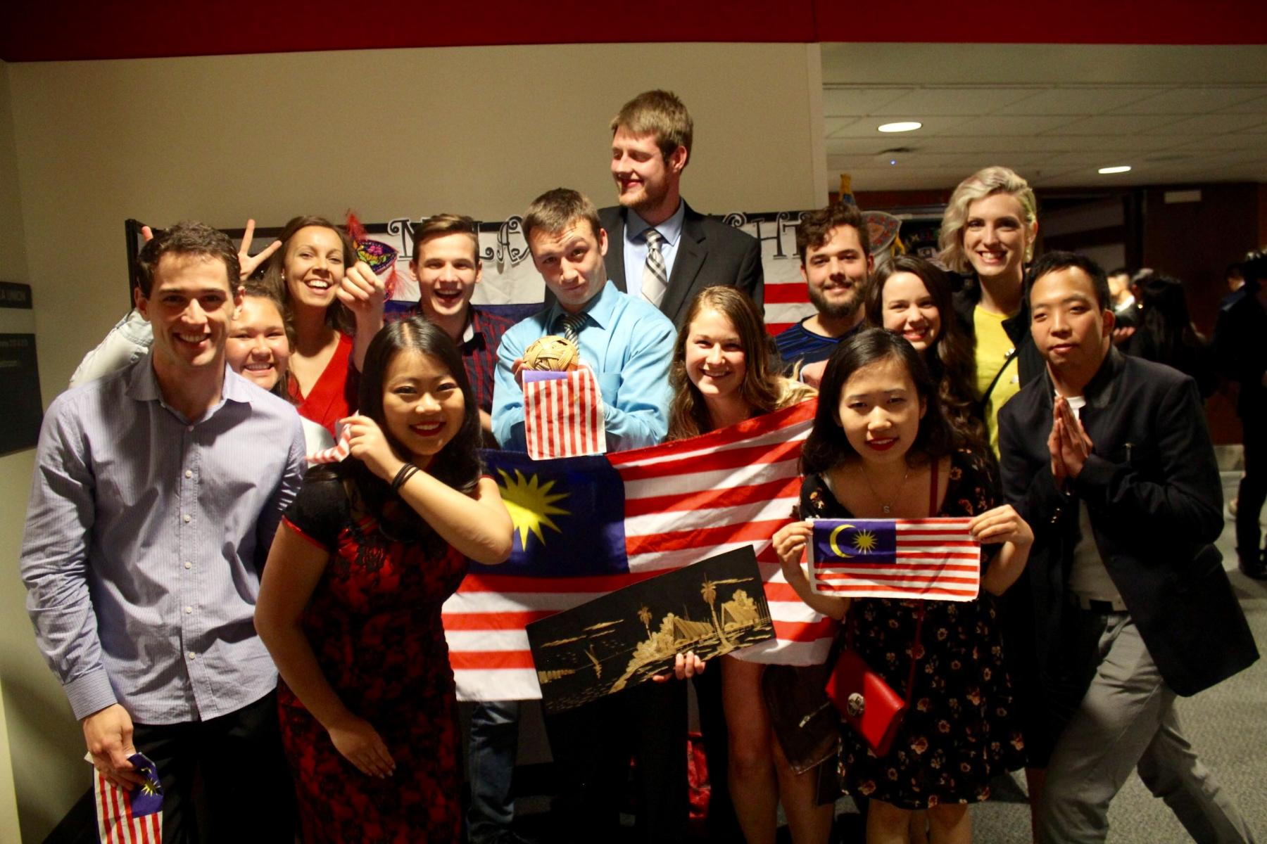 A group of UNL students at the 2014 Malaysia Night.