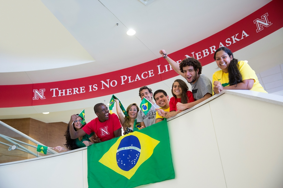 Brazil Scientific Mobility students gather in the UNL Student Union.