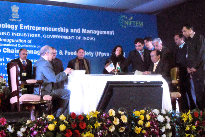 Chancellor Harvey Perlman signing an MOU with National Institute of Food Technology, Entrepreneurship and Management