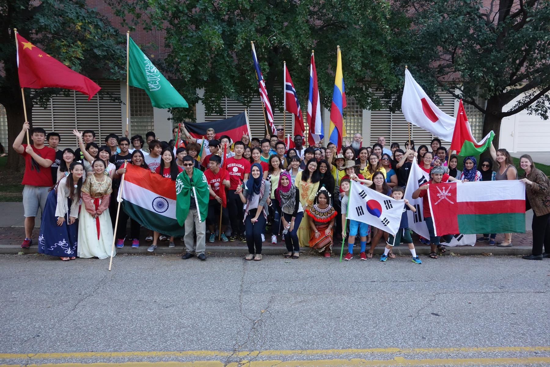 A group of PIESL students participated in the 9th annual  UNL homecoming Parade.
