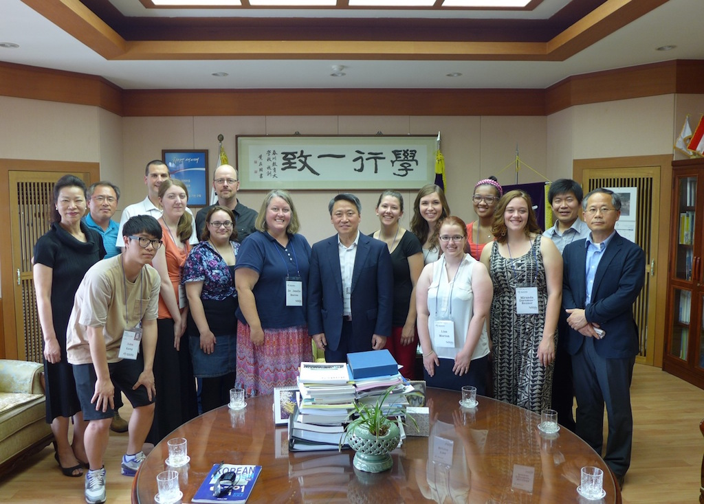 A group of UNL students meeting President Lee of Chuncheon National University of Education in South Korea