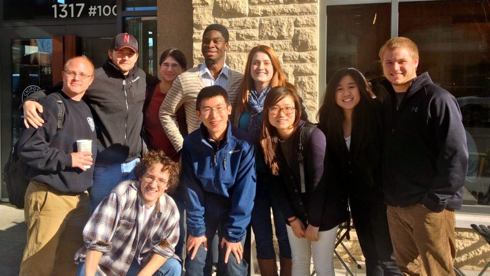 A group of UNL students who studied in Xi'an and the Chinese students—now UNL students—whom they befriended.