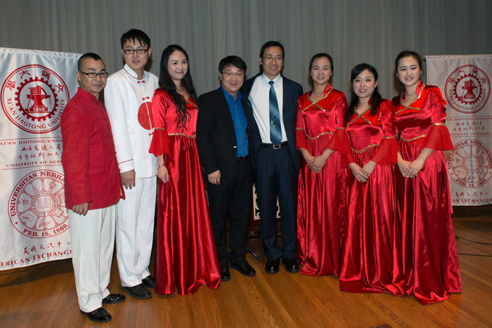 Student musicians from Xi'an Jiatong University after their performance at UNL's Sheldon Museum.