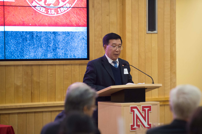 XJTU Vice President Xiaoping Song speaks during Xi'an Jiaotong University Week at UNL.
